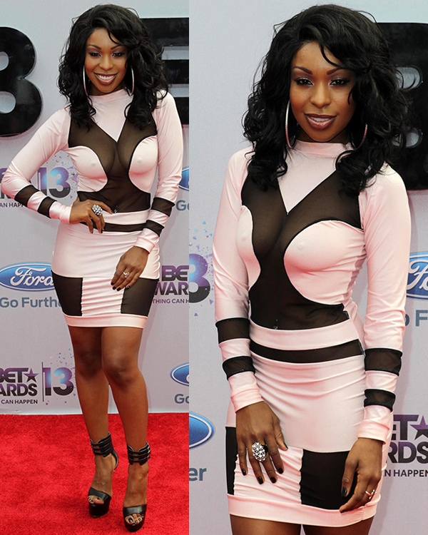 Porscha Coleman in a fitted long-sleeved dress at the 2013 BET Awards