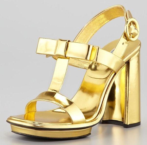 Prada Metallic Specchio Bow T-Strap Sandals