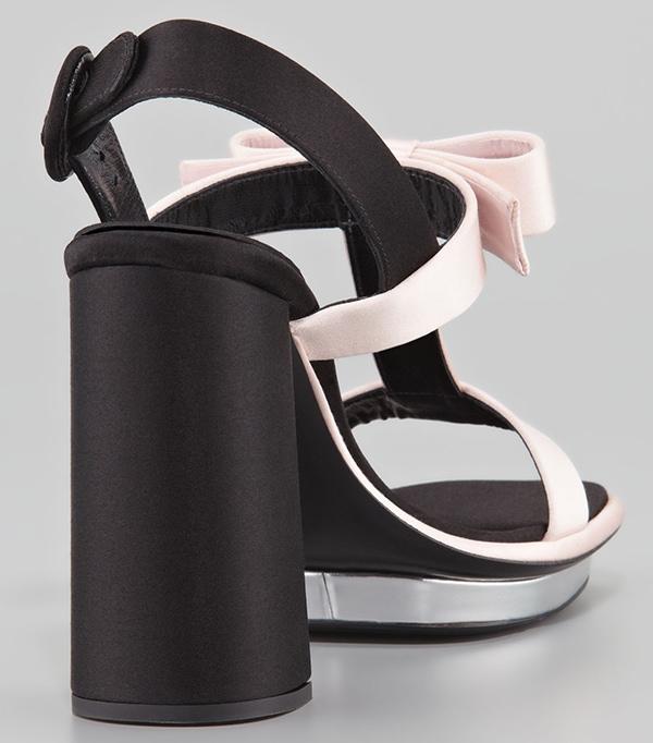 Prada Satin Bow T-Strap Sandals Pink