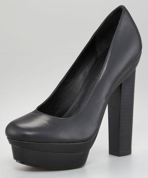 Rachel Zoe black thick heel pumps