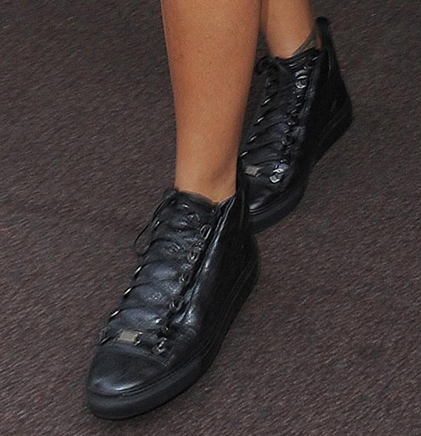 Rihanna inwrinkled lambskin leather Balenciaga high trainers