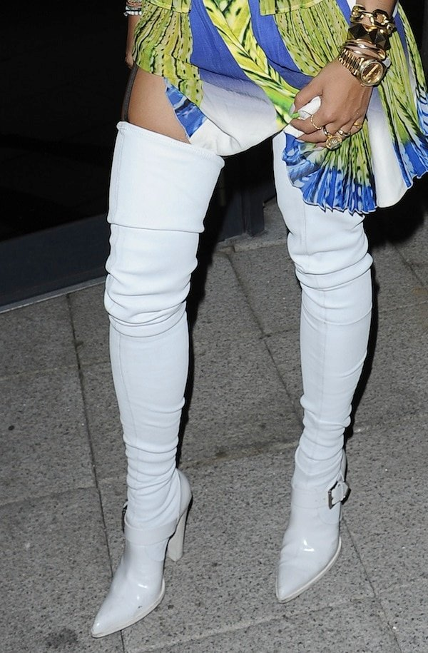 Rita Ora's colorful outfit and Altuzarra thigh-high boots