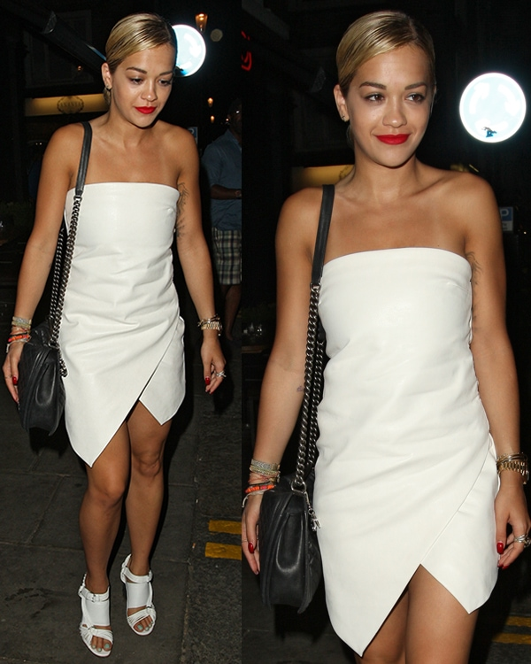Rita Ora leaves E&O restaurant in Notting Hill wearing astrapless faux leather dress
