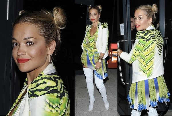 Rita Ora wears Chun Li–style buns on the sides of her head while leaving a close friend's birthday party