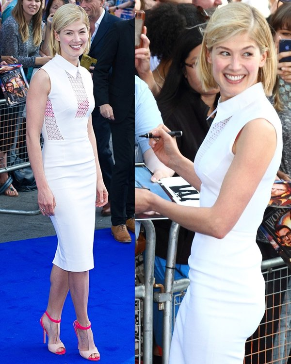Rosamund Pike in a sleeveless white dress at the world premiere of The World's End