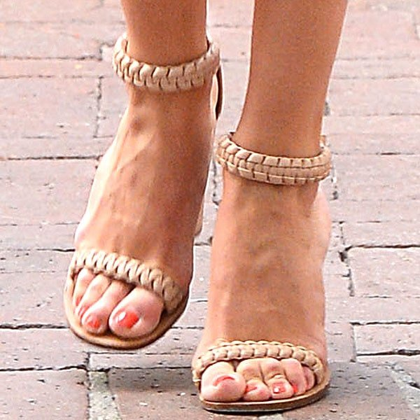 Rosie Huntington-Whiteley Chloe braided sandals