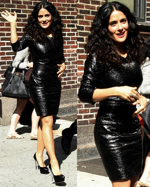 Salma Hayek leaving the Ed Sullivan Theater after taping her appearance on the Late Show with David Letterman on July 10, 2013