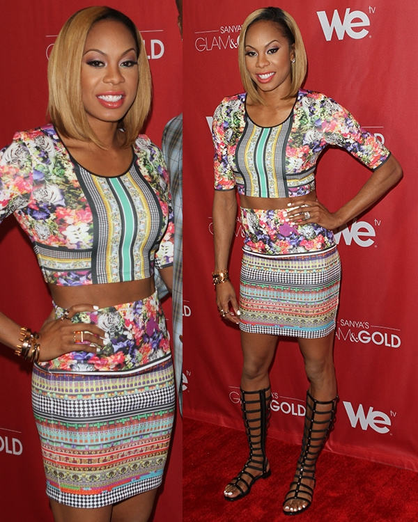 Sanya Richards-Ross showed off her toned abs in a cropped floral top with a matching fitted short skirt