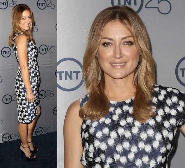Sasha Alexander in a knee-length printed dress at TNT's 25th Anniversary Party