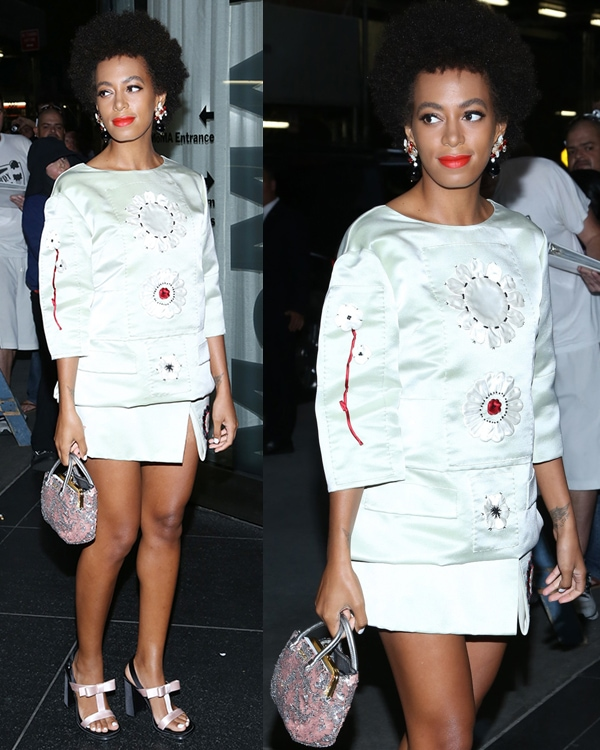 Solange Knowles wearing a mint green top and skirt, both with floral appliques from Prada's Spring 2013 collection