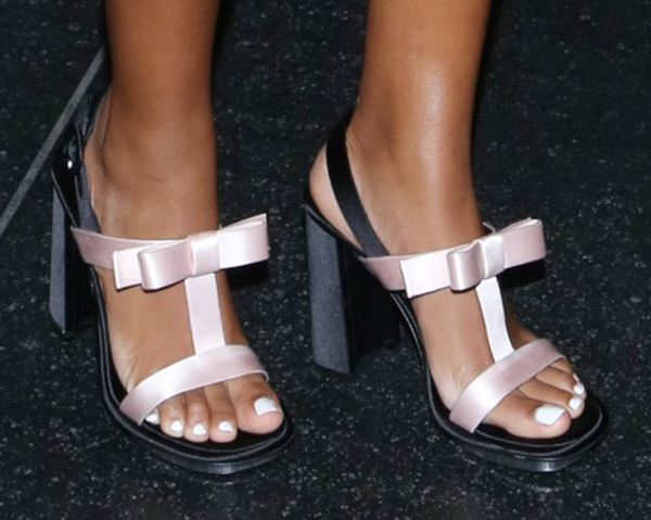 Solange Knowles wearing Prada satin bow t-strap sandals