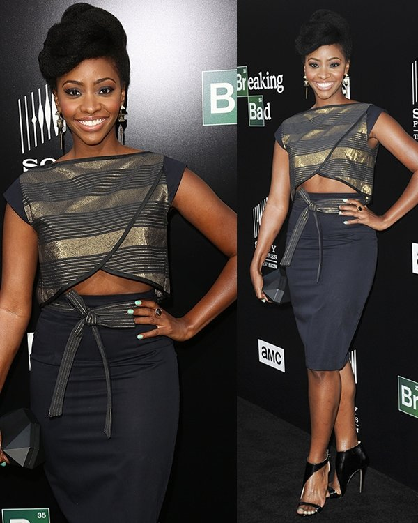 Teyonah Parris joining AMC in the celebration of the final episodes of Breaking Bad at Sony Pictures Studios in Culver City on July 24, 2013