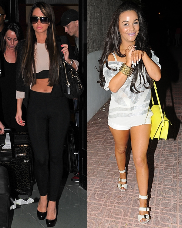 Chelsee Healey arriving with her friend Tulisa Contostavlos in Ibiza, Spain, on July 6, 2013