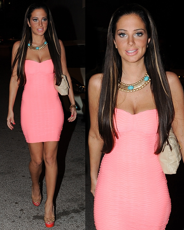 Tulisa Contostavlos out clubbing with friends in Ibiza, Spain, on July 7, 2013