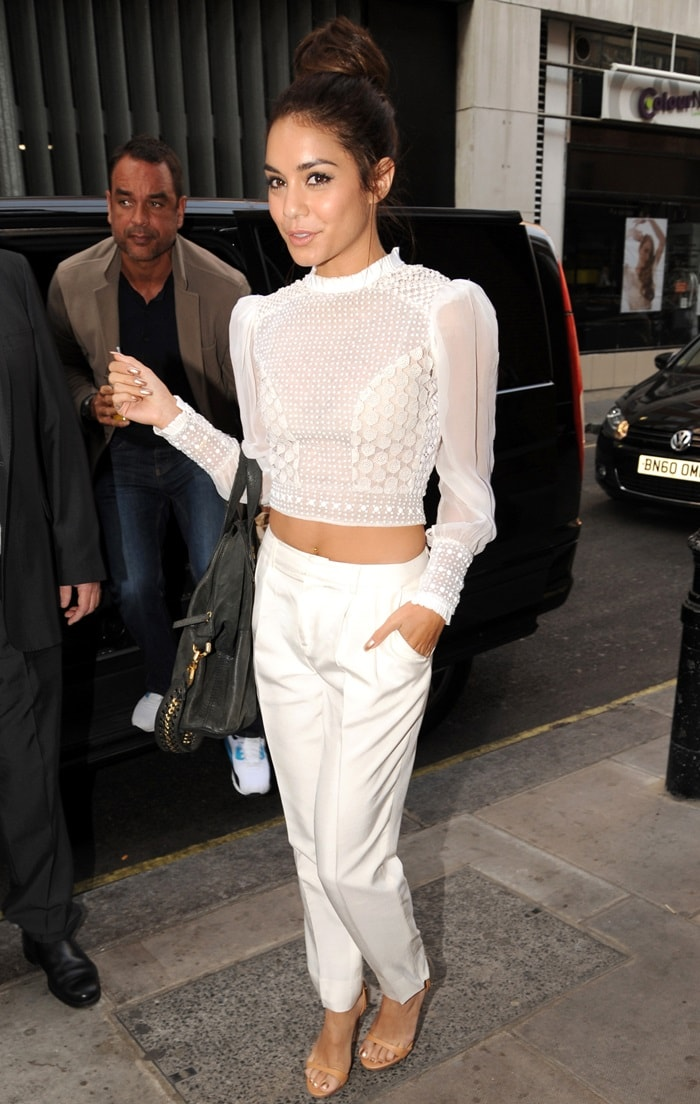 Vanessa Hudgens wearing an all-white Catherine Malandrino ensemble at the BBC Radio 1 studio in London, England, on July 16, 2013