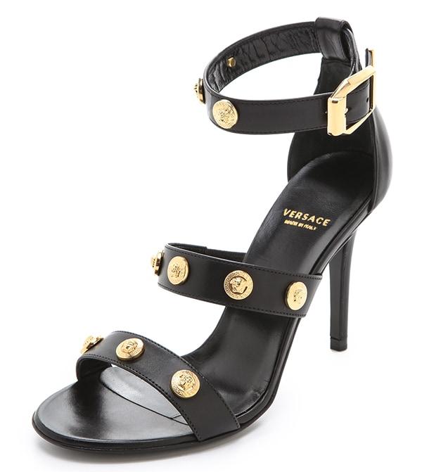 Versace Medusa Strappy Sandals Black