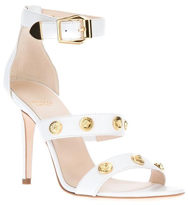 Versace Medusa Strappy Sandals White