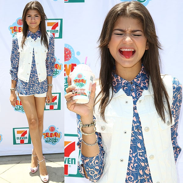 We love the pink satin Christian Louboutin heels that Zendaya chose to finish her summery blue-and-white look
