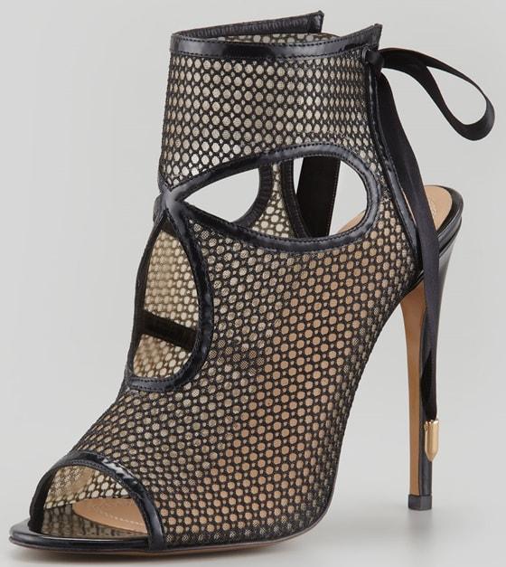 aquazurra sexy thing cutout sandals in black mesh