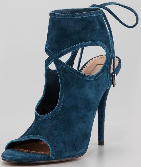 aquazurra sexy thing cutout sandals in teal