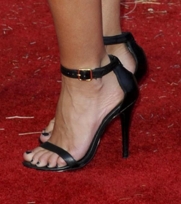 Audrina Patridge in black ankle-strap sandals
