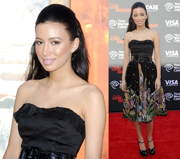Christian Serratos at the world premiere of Disney's 'The Lone Ranger' in Anaheim, California, on June 22, 2013