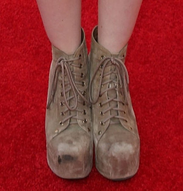 Dove Cameron in Jeffrey Campbell suede