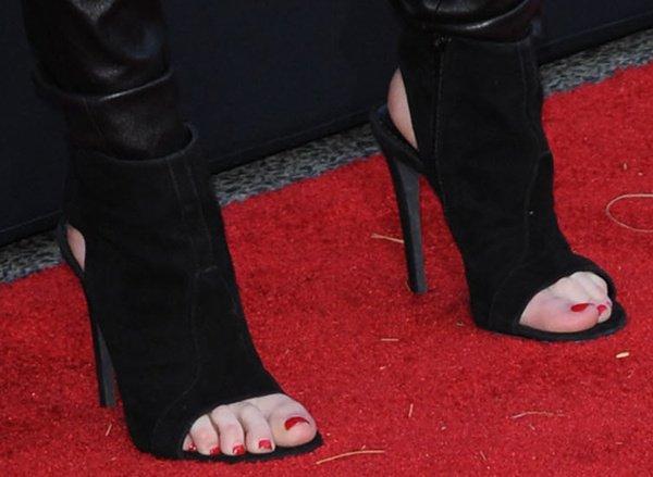 Emma Roberts in open-toe booties