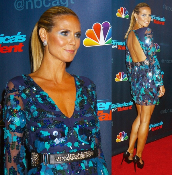 Heidi paired her pumps with a blue sequin mini dress from ASOS