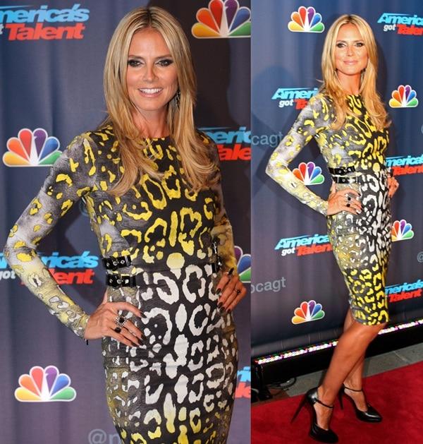 Heidi wore a leopard-print Versace dress with her Saint Laurent pumps