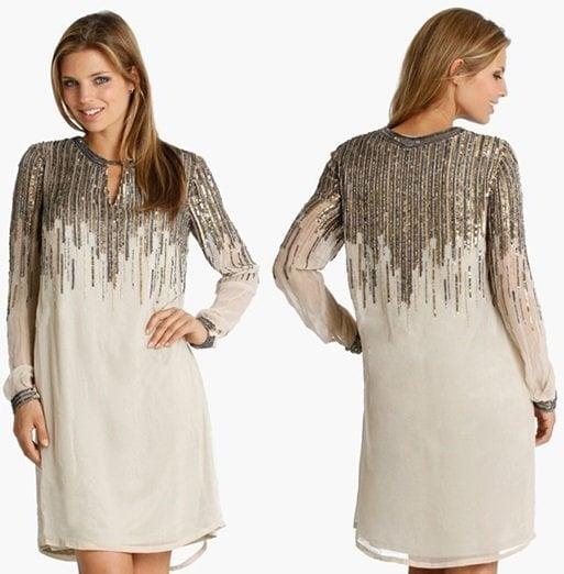 js collection beaded chiffon shift dress-horz