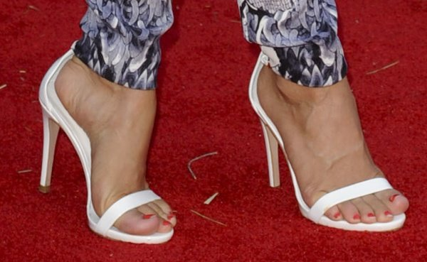 Julianne Hough in white ankle-strap sandals
