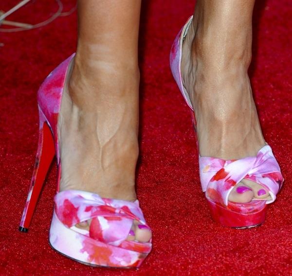 Karina Smirnoff in Christian Louboutin floral-print peep-toe pumps