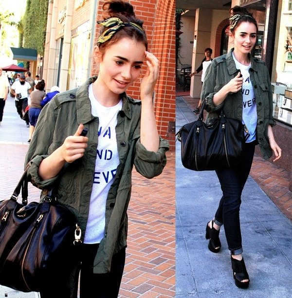 "Wearing a light cargo jacket layered over a Topshop tee with skinny jeans and edgy Koolaburra ""Zinda"" clogs, the 24-year-old actress made running errands look fashionable"