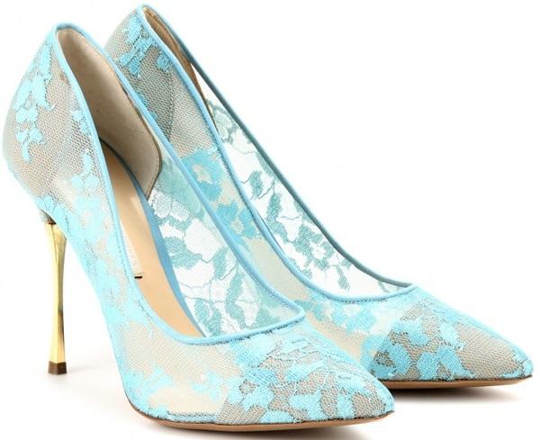 nicholas kirkwood lace pumps with gold metal heel