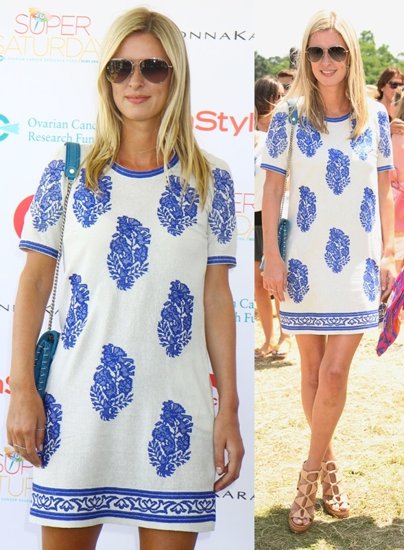 Nicky Hilton remained fabulously cool in her printed blue-and-white Isabel Marant frock