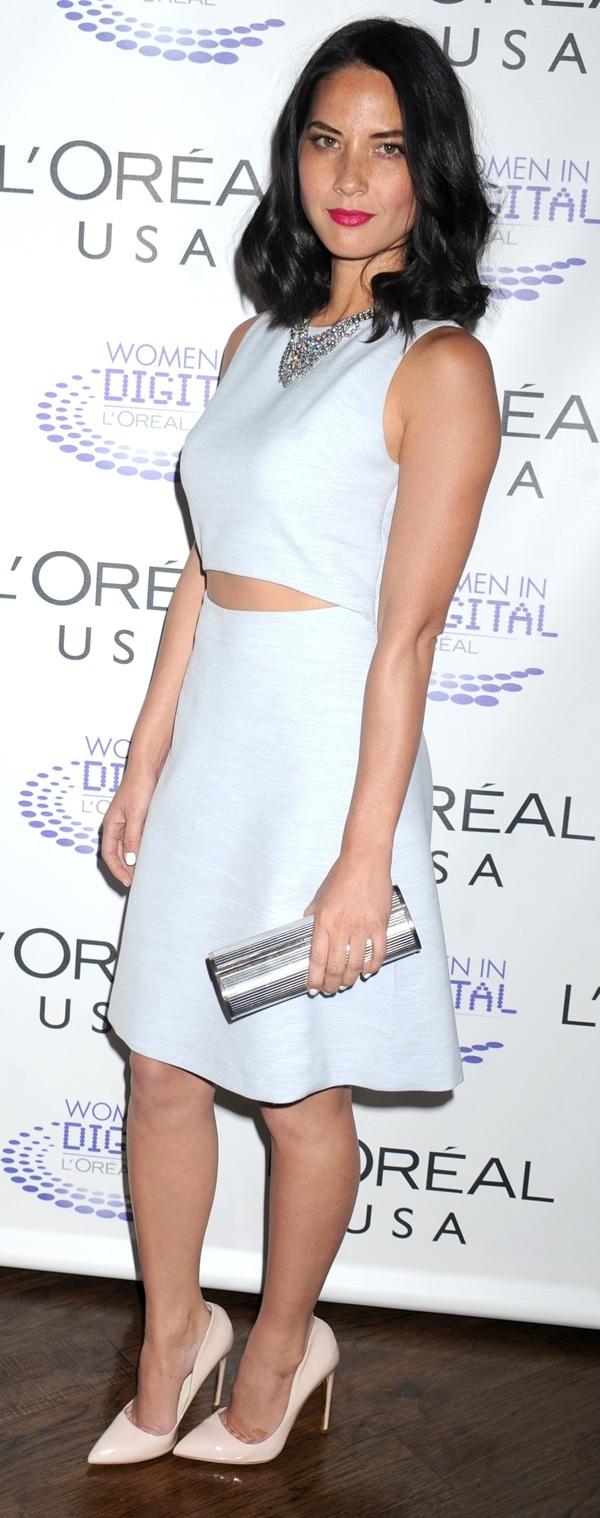 Olivia Munn'ssexy yet tasteful midriff-baring Thakoon Resort 2014 dress
