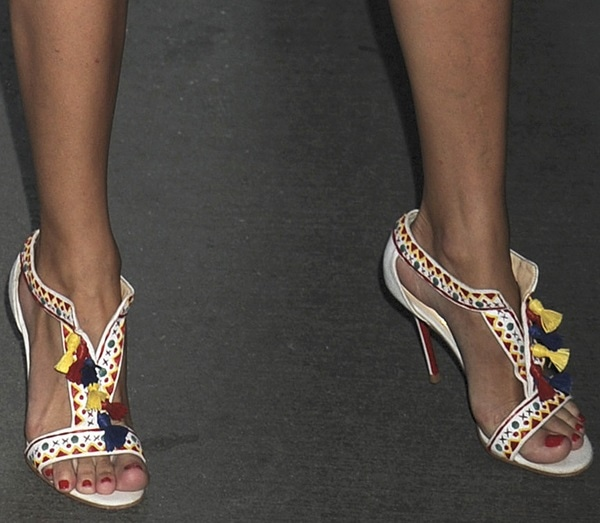 Olivia Palermo in colorful tasseled 'Maotic Brodée' sandals from Christian Louboutin