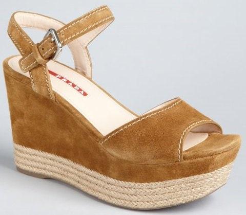 Prada Sport Suede and Jute Platform Sandals in Caramel