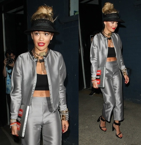 rita ora in silver armani suit and topshop sandals