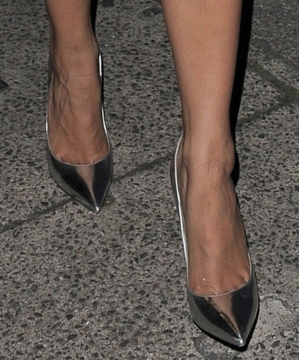 Rita Ora wearing Jimmy Choo Anouk metallic pumps