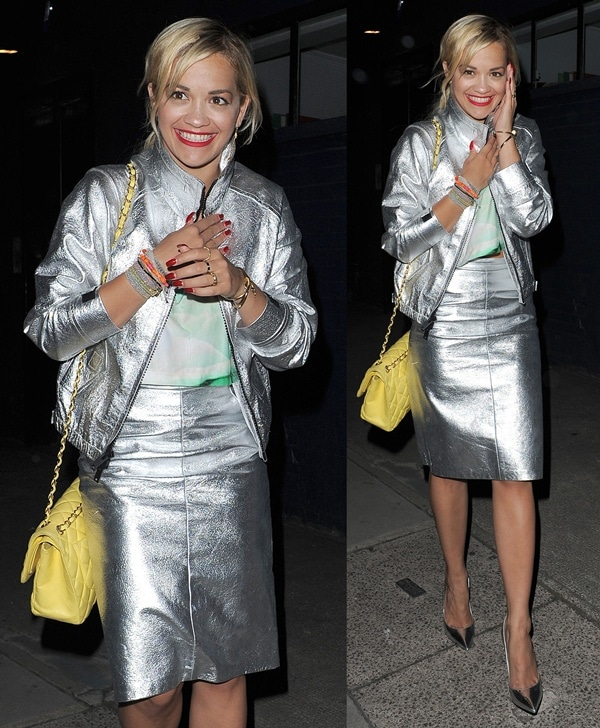 Rita Ora leaving a recording studio at 1:30 a.m. in London on July 10, 2013