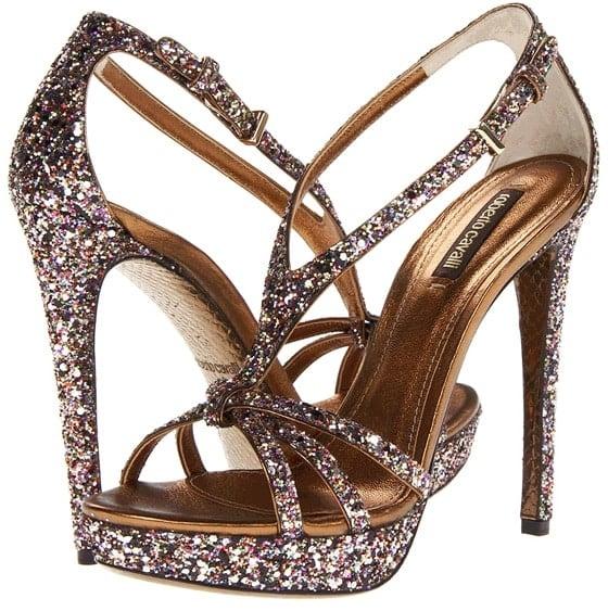 roberto cavalli glitter sandals