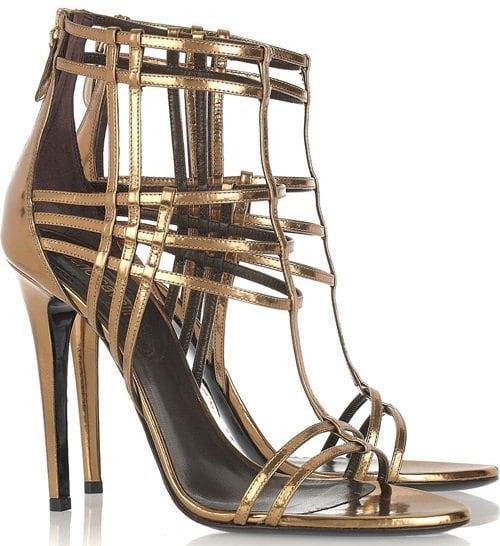 Robert Cavalli Metallic Patent Leather Cage Sandals