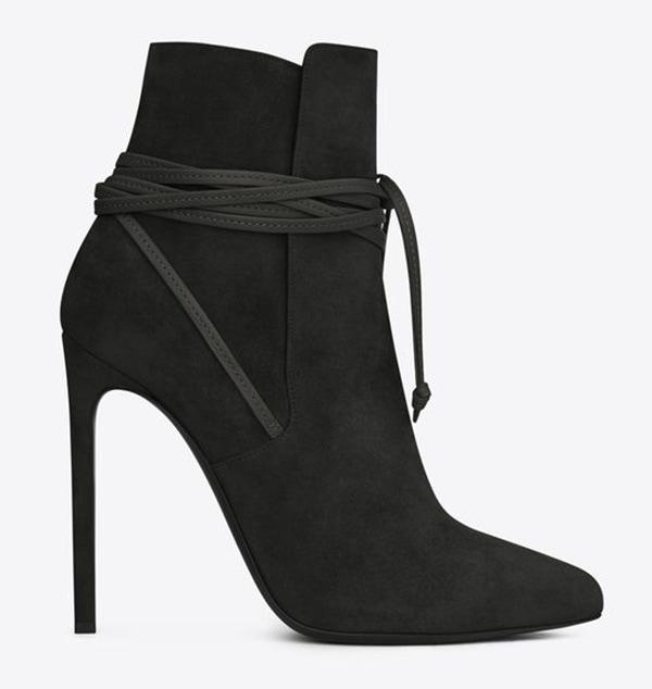 saint laurent lace up ankle boots black suede