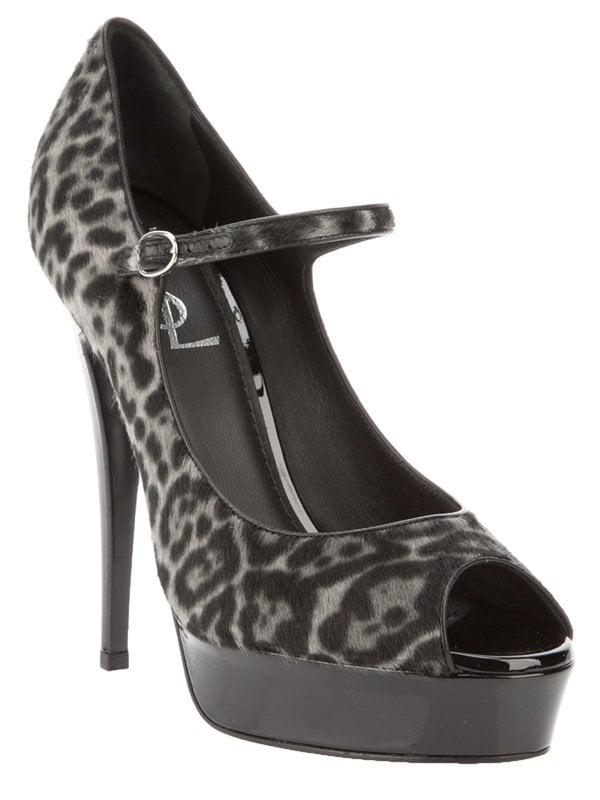 Saint Laurent leopard-print peep-toe pumps