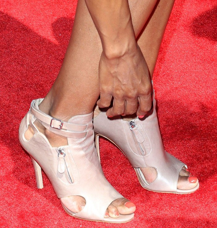 Aisha Tyler wearing Nine West Abi booties
