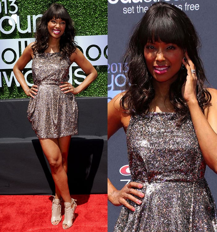 Aisha Tyler showed us a rock-chic look in a shimmery mini dress paired with leather booties