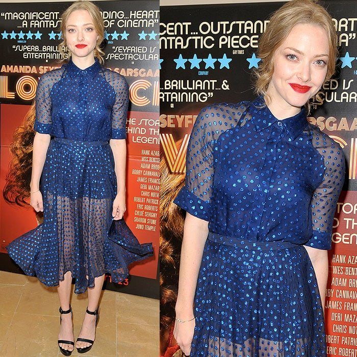 6325640272d9 Amanda Seyfried wearing a dotted chiffon short-sleeved shirt and a matching  blue skirt from