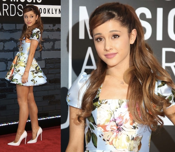 Ariana Grande stuck to her fashion MO with a cute floral-print dress by 'Project Runway' alum Kenley Collins